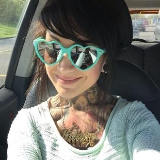 hair accessory heart summer festival sunglasses