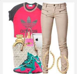 shirt adidas pink khaki pants hoop earrings michael kors jordan's jeans shoes jewels