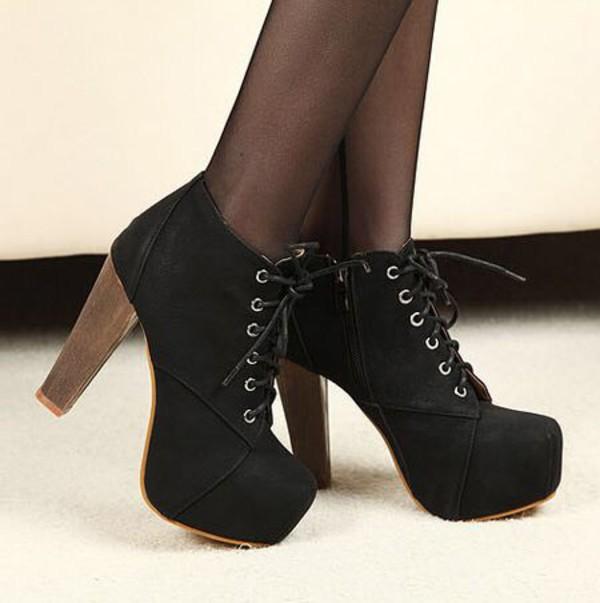 shoes ankle boots platform lace up boots black heels