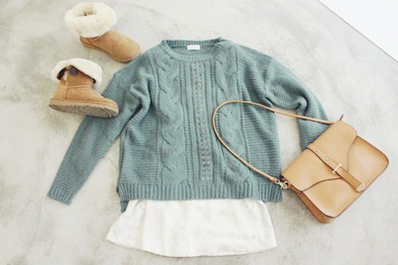 sweater blue sweater skirt uggs