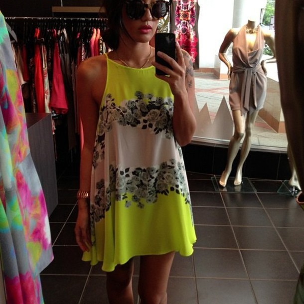 Dress Neon Green Flowers Black And White Green Neon Black