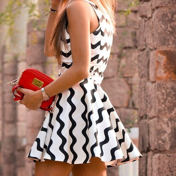 white dress wave print dress cloud dress summer dress skater dress party dress dress