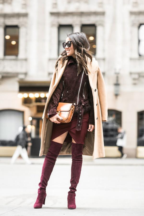 coat jacket dress wendy's lookbook blogger top burgundy shoes suede boots burgundy camel coat winter outfits