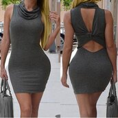dress,bodycon dress,sleeveless,sexy,rosegal,stylish,sexy dress,classy,fashion,curvy,new years resolution,grey,hot,turtleneck,style,Women's Cowl Neck Sleeveless Pure Color Cut Out Dress,open back,trendy,rose wholesale-jan