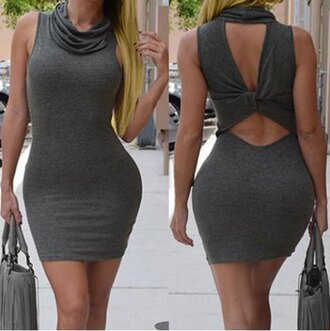 dress bodycon dress sleeveless sexy rosegal stylish sexy dress classy fashion curvy new years resolution grey hot turtleneck style women's cowl neck sleeveless pure color cut out dress open back trendy rose wholesale-jan