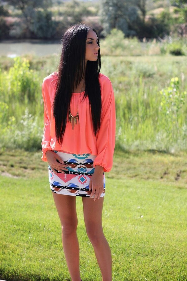 skirt dress peach aztec blouse jewels orange dress cute dress short dress top shirt tribal pattern