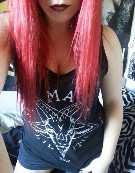 top black top t-shirt tank top black tank top black behemoth satan goth