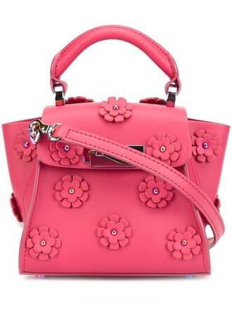 mini women embellished floral purple pink bag