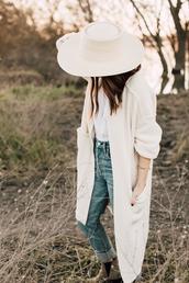 hat,bracelets,tumblr,white hat,cardigan,white cardigan,denim,jeans,blue jeans,cuffed jeans,t-shirt,white t-shirt,boots,grey boots