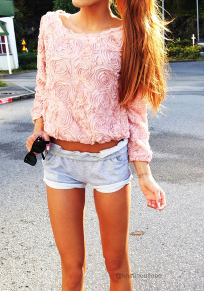 shirt rose pink shorts sweater