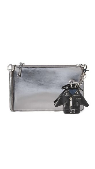 zip clutch silver bag