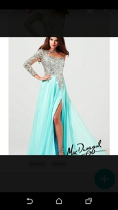 dress,turquoise dress,prom dress,prom gown,long prom dress,long sleeves