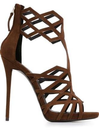 laser cut sandals brown shoes