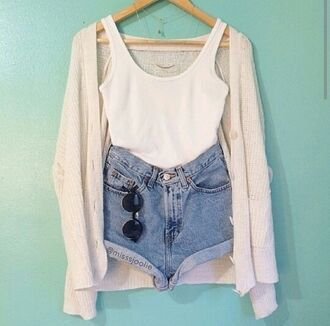 cardigan cream knitted cardigan clothes shorts tank top chic chill blue white dope swag beach ootd summer tumblr cool boho pretty cute high waisted shorts crop tops necklace sunglasses round sunglasses blue jeans summer outfits