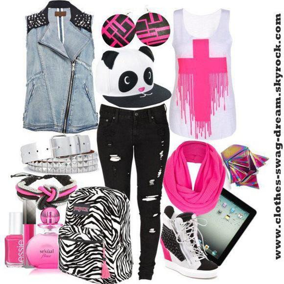 top rose noir croix blanc pantalon casquette panda