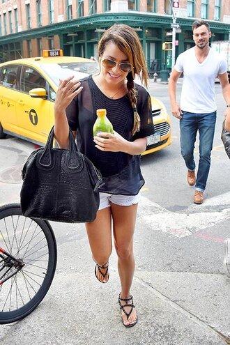 bag shoes shorts top sunglasses sandals lea michele