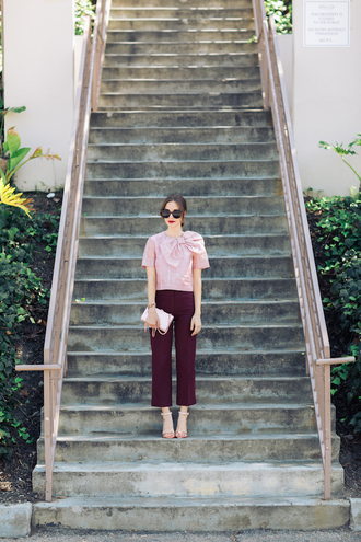 m loves m blogger top pants shoes sunglasses bag make-up