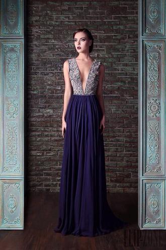 dress prom dress blue dress purple vneck prom v neck dress purple dress rami cadi prom gown long prom dress evening dress