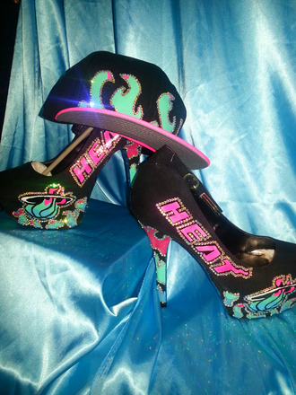 shoes pink custom made high heels custom heels snapback hat miami miami heat bling shoes basketball teal blue neon swag swarovski florida