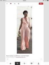 jumpsuit,blush pink,v neck,long legged jumpsuit