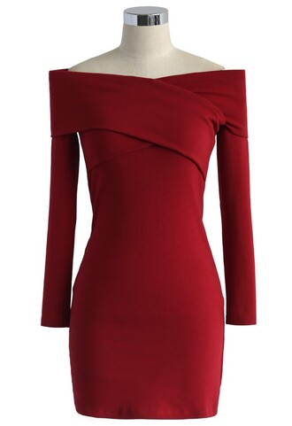 dress own the charm wrap dress in red chicwish wrap red