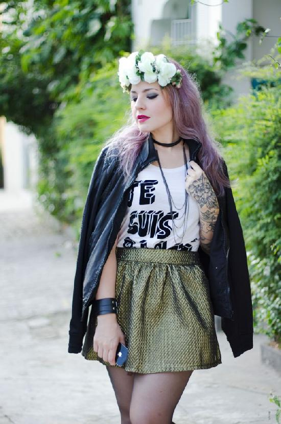 Retro Metallic Skater Skirt