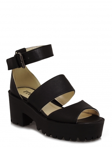 Erika three strap black platform cleated sole sandals