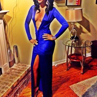 dress blue middle slit deep v neck dress long dress zulu ball undefined blue dress prom dress new orleans high heels green long sleeve dress red lipstick the middle