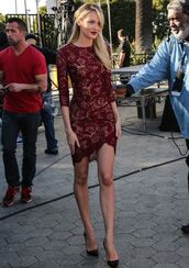 dress,maroon burgundy lace dresss,celebrity style,zaful,sexy,burgundy,lace dress,fashion,streetstyle,boho,style,classy,celebrity,bodycon dress,chic,tall girls,pumps,burgundy lace dress,candice swanepoel,model,burgundy dress,pointed toe pumps,pointed toe