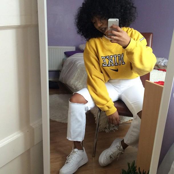top cute nike air nike sweater yellow top yellow dope sweater