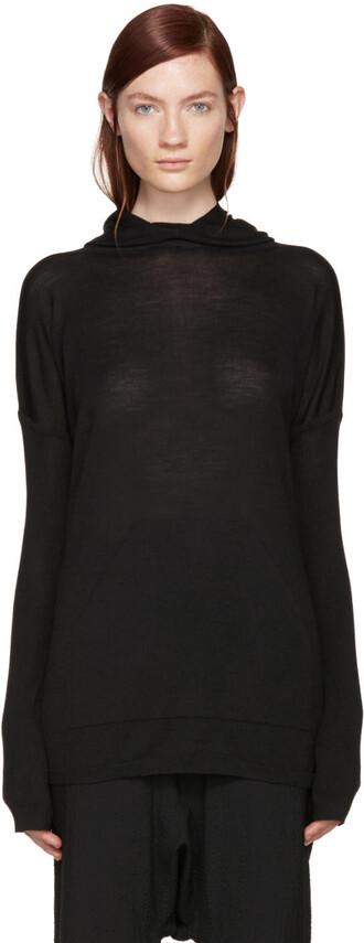 poncho black wool top
