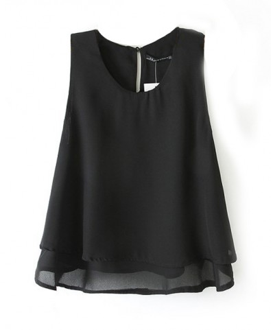 Western Style Double layer Chiffon Sleeveless T-shirt