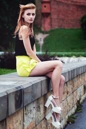 skirt,skorts,yellow skort,summer outfits,streetstyle,stylemoi