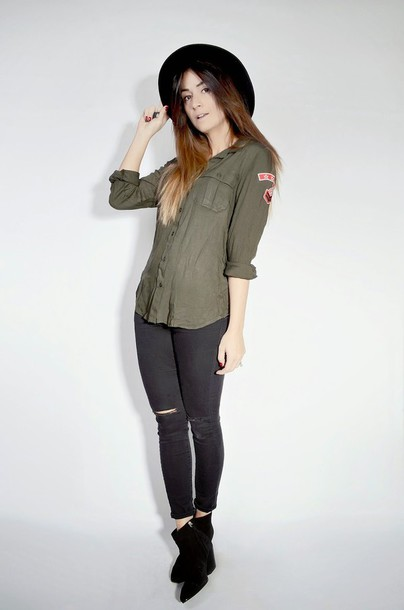 quality rivets blogger khaki ripped jeans shirt jeans shoes hat