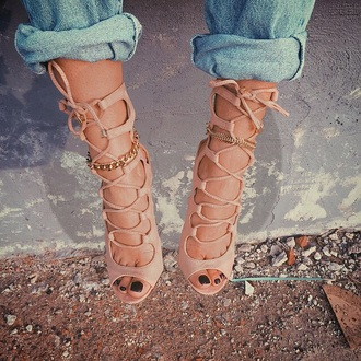 shoes tan brown beige heels high heels summer style casual cute high heels cream high heels strappy heels nude and gold nude pumps nude heels shorts lace up heels high heel sandals