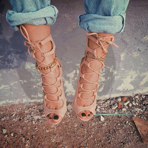 73c2ecdb8ad47 shoes strappy sandals strappy shoes gladiators heel strappy heels tan brown  beige heels high heels summer