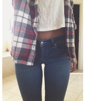 shirt flannel shirt navy plaid shirt plaid jeans casual white t-shirt t-shirt tumblr tumblr girl everyday denim tank top jacket same cardigan red lovely adorable outfit