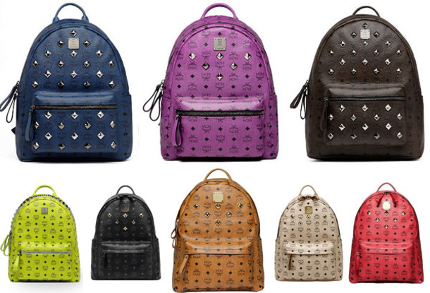 bag purple black pink creme blue mcm backpack bookbag back to school cute studs silver girl tan