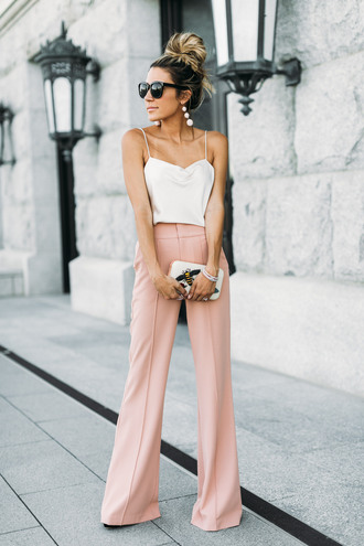 pants top sunglasses tumblr wide-leg pants pink pants camisole white top earrings accent earrings bag clutch