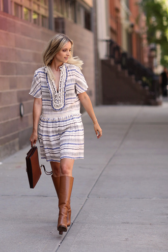 the fashion guitar blogger brown leather boots striped dress