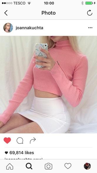 shirt joanna kuchta turtleneck sweater pink sweater white skirt mini skirt bodycon skirt