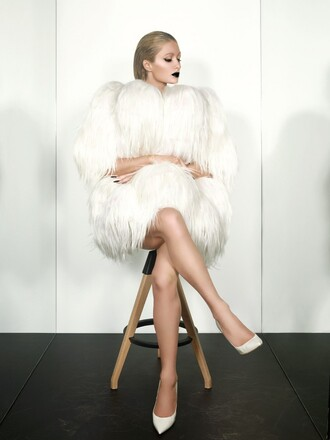 coat fur coat white editorial pumps paris hilton winter coat winter outfits