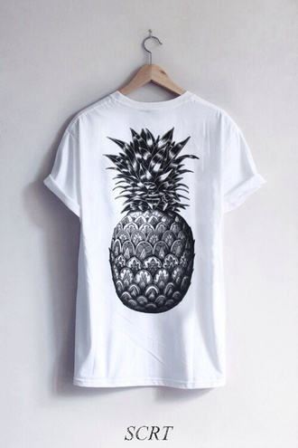 t-shirt shirt top pineapple print graphic pineapple cute weheartit black and white lovely yaaas pinapples graphic tee rolled sleeves rolled up sleeves skater skateboard skater girl printed t-shirt casual swag teenagers t shirt print tumblr need  oversized oversized t-shirt oversized shirt