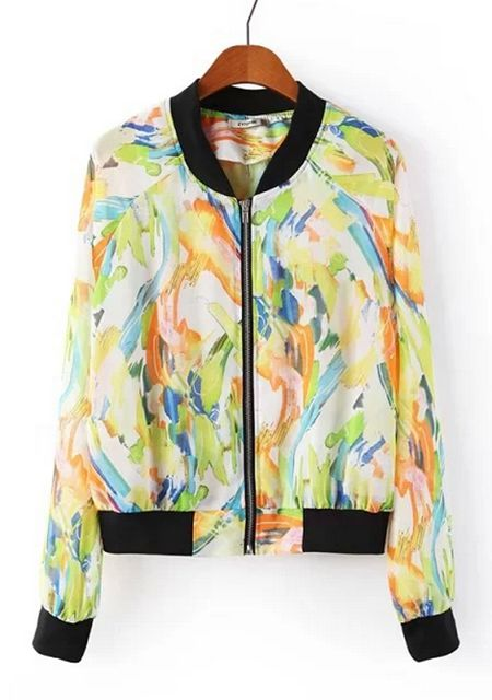 Women's trendy stand collar chiffon print color block jacket online