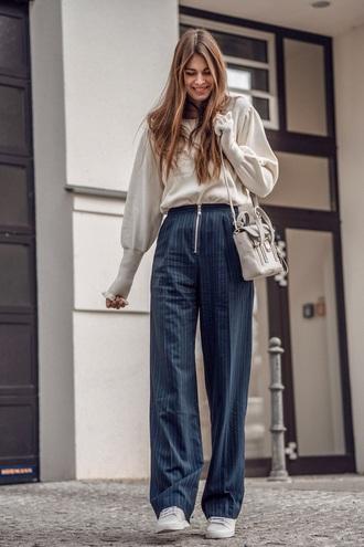 pants blue pants striped pants sweater white sweater bag white bag sneakers white sneakers wide-leg pants