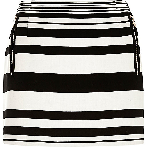 Black And White Striped Mini Skirt - Dress Ala