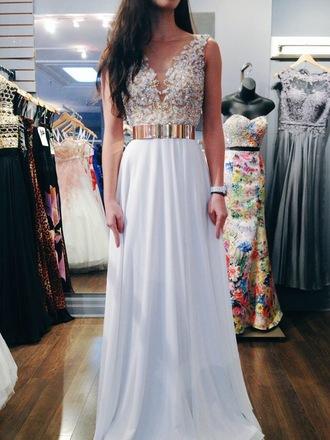 dress white prom dress gold belt chiffon dress elegant