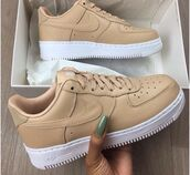 shoes,nike,beige,nike air,white,nude,nail polish,nike air force 1,nike af1s,nude sneakers,tennis shoes,airforce 1,nike shoes,a1,tan,camel,sneakers,low top sneakers,camel shoes,nike air force,nike sneakers