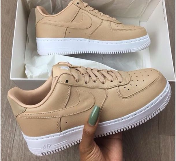 shoes nike beige nike air white nude nail polish nike air force 1 nike af1s nude sneakers tennis shoes airforce 1 nike shoes a1 tan camel sneakers low top sneakers camel shoes nike air force nike sneakers