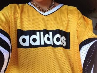 shirt adidas yellow white black dope fashion